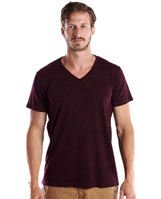 US Blanks US2228O Men's 5.2 oz. Short-Sleeve Triblend Layer-Dyed V-Neck CRANBERRY