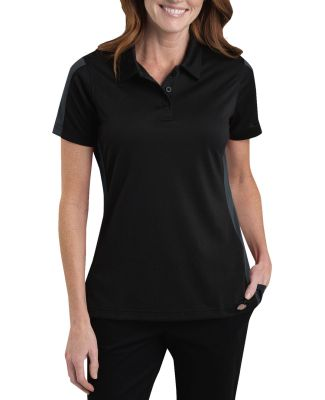 Dickies Workwear WFS424 Ladies' Industrial Performance Color Block Polo BLACK/ CHARCOAL