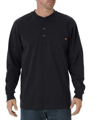 Dickies Workwear WL451T Men's Tall Long-Sleeve Heavyweight Henley BLACK