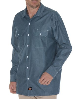Dickies Workwear WL509 Men's Relaxed Fit Long-Sleeve Chambray Shirt BLUE CHAMBRAY