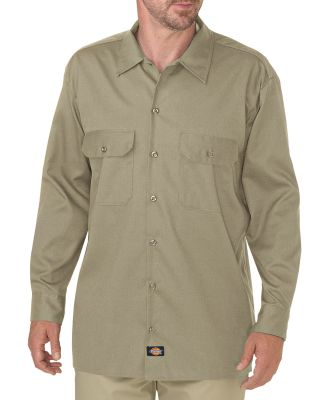 Dickies Workwear WL675 Men's FLEX Relaxed Fit Long-Sleeve Twill Work Shirt DESERT SAND