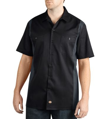 Dickies Workwear WS508 Men's Two-Tone Short-Sleeve Work Shirt BLACK/ CHARCOAL