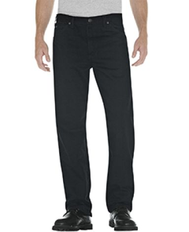 Dickies Workwear 13292 Unisex Relaxed Straight Fit 5-Pocket Denim Jean Pant RNS OVRDY BLK _44