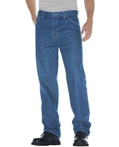 Dickies Workwear 13293 Unisex Relaxed Straight Fit 5-Pocket Denim Jean Pant SW IND BLUE _44