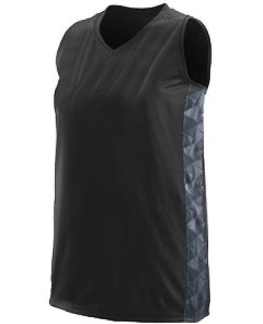 Augusta Sportswear 1723 Girls' Fast Break Racerback Jersey BLK/ GRPH/ BLK