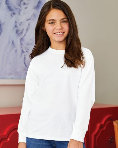 Hanes Youth Tagless 100 Cotton Long Sleeve T Shirt 5546