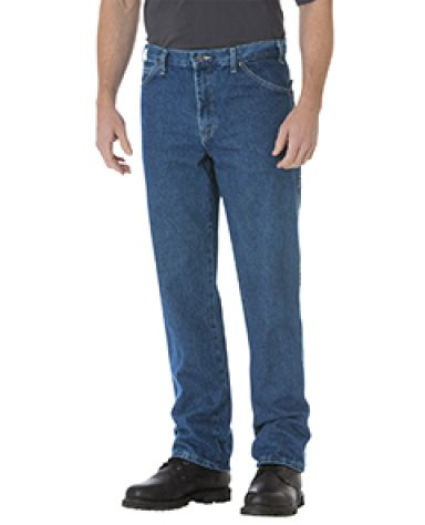 Dickies Workwear 17293 Unisex Regular Straight Fit 5-Pocket Denim Jean Pant SW IND BLUE _30