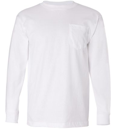 8100 Bayside Adult Long-Sleeve Cotton Tee with Pocket White