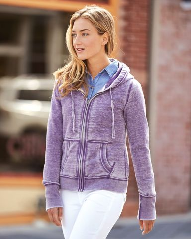 J America 8913 Women's Zen Fleece Full-Zip Hooded Sweatshirt