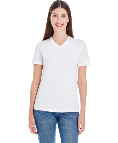 2356W Ladies' Fine Jersey Short Sleeve Classic V-Neck White