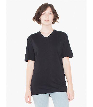 American Apparel 24321OW Unisex Organic Fine Jersey Short-Sleeve Classic V-Neck Black