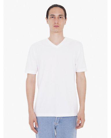 24321W Unisex Fine Jersey Short Sleeve Classic V-Neck White