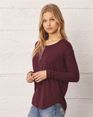 Bella 8852 Womens Long Sleeve Flowy T-Shirt With Ribbed Sleeves