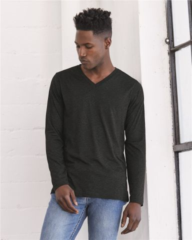 BELLA+CANVAS 3425 Mens Tri-Blend Long Sleeve V-Neck T-shirt