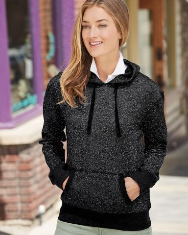 8860 J. America Women's Glitter French Terry Hooded Pullover