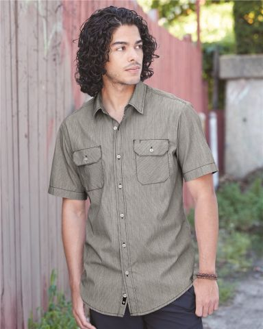 B9265 Burnside - Dobby-Stripe Short Sleeve Shirt