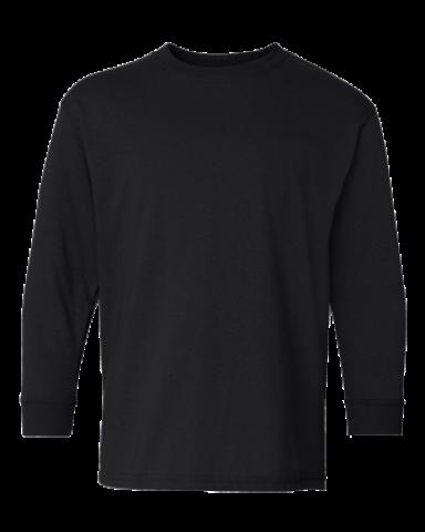 5400B Gildan Youth Heavy Cotton Long Sleeve T-Shirt BLACK