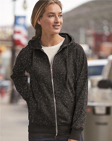 8868 J. America Women's Glitter Hooded Full-Zip Sweatshirt
