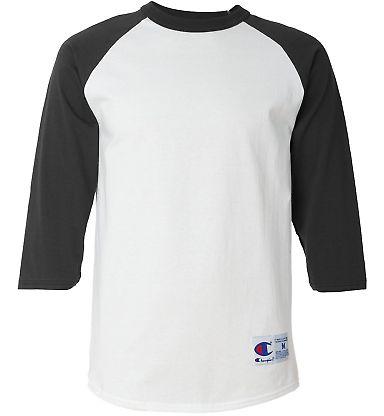 T1397 Champion Logo Raglan Baseball Tee White/ Black