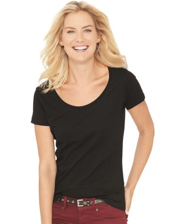 3504 LA T Ladies' Fine Jersey Deep Scoop Neck Longer Length T-Shirt