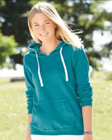 J America 8836 Women's Sueded V-Neck Hooded Sweatshirt