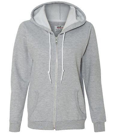 71600FL Anvil Ladies' Fashion Full-Zip Blended Hooded Sweatshirt Heather Grey