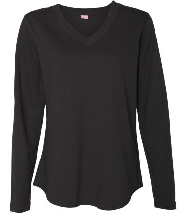 LAT 3761 Women's V-Neck French Terry Pullover BLACK