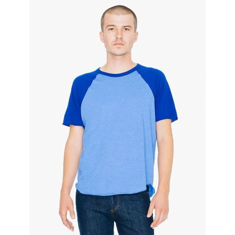 American Apparel RSABB4237/ 50/50 Short Sleeve Raglan Crew H Lake BL/Lapis (Discontinued)