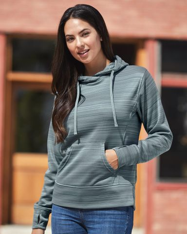 J America 8662 Women's Odyssey Striped Performance Fleece Lapover Hooded Sweatshirt