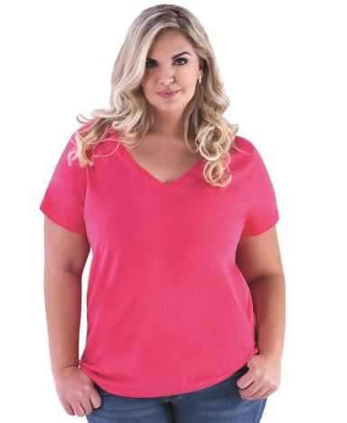 LAT 3807 Curvy Collection Women's V-Neck Tee