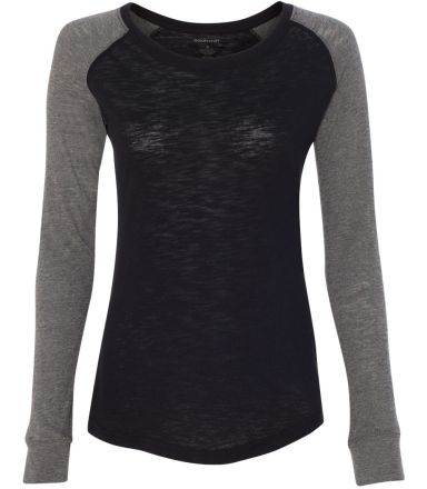 Boxercraft T66 Women's Preppy Patch Slub T-Shirt Black/ Granite