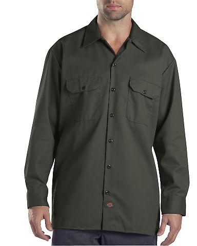 Dickies Workwear 574T Unisex Tall Long-Sleeve Work Shirt OLIVE GREEN