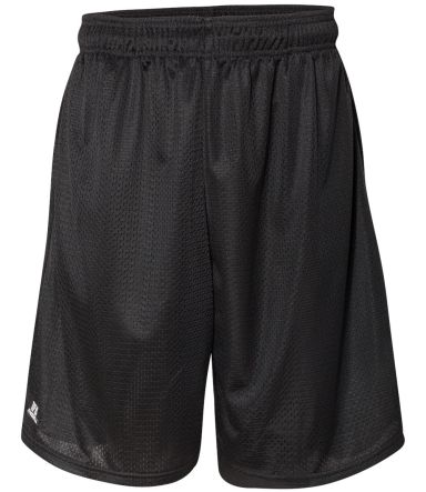 """Russel Athletic 651AFM 9"""" Polyester Tricot Mesh Pocketed Shorts Black"""