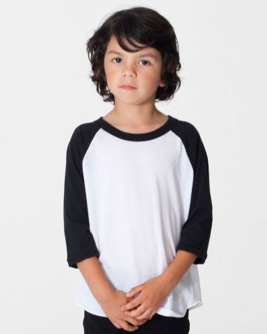 American Apparel BB153W Toddler Poly-Cotton 3/4-Sleeve T-Shirt
