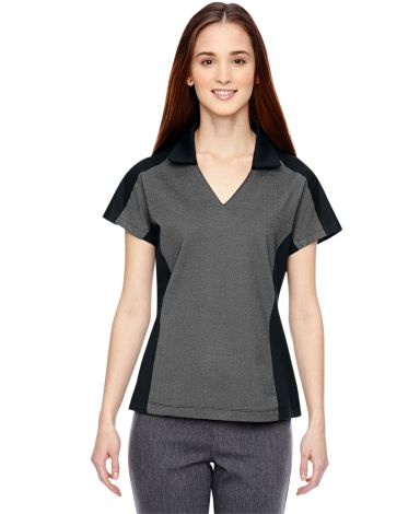 78692 Ash City - North End Sport Blue Ladies' Merge Cotton Blend Mélange Polo BLACK 703