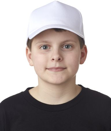 UltraClub 8120Y Youth Classic Cut Cotton Twill 5-Panel Cap WHITE
