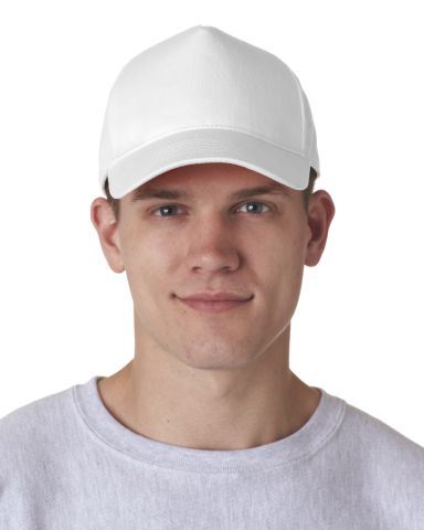 8120 UltraClub® Classic Cut Cotton Twill Cap WHITE