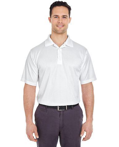 8305 UltraClub® Adult Cool & Dry Elite Mini-Check Jacquard Performance Polo WHITE