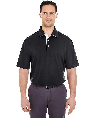 UltraClub 8325 Men's Platinum Performance Birdseye Polo with TempControl Technology BLACK/ WHITE