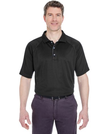 8409  UltraClub® Adult Cool & Dry Sport Shoulder Block Mesh Performance Polo BLACK/ CHARCOAL