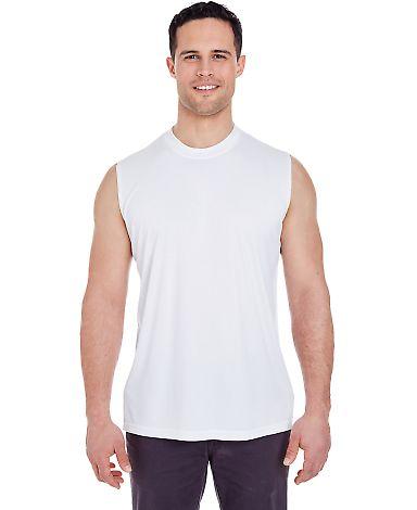 UltraClub 8419 Adult Cool & Dry Sport Performance Interlock Sleeveless T-Shirt WHITE