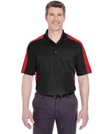 UltraClub 8447 Adult Cool & Dry Stain-Release Two-Tone Performance Polo BLACK/ RED