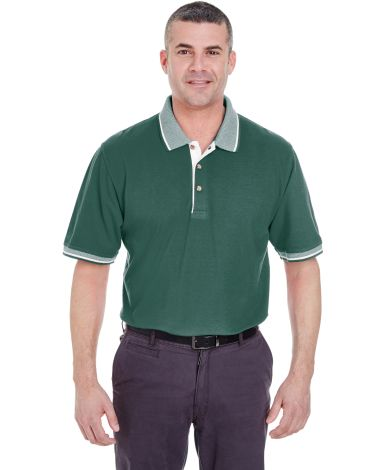 8537 UltraClub® Adult Color-Body Classic Pique Cotton Polo with Contrasting Multi-Stripe Trim FOREST GRN/ WHT