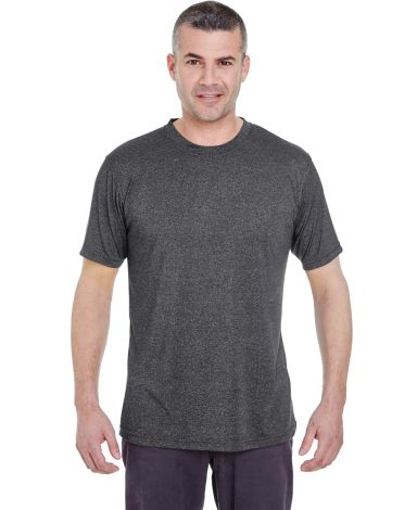 UltraClub 8619 Men's Cool & Dry Heathered Performance T-Shirt BLACK HEATHER