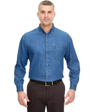 8960T UltraClub® Men's Tall Long-Sleeve Cotton Cypress Denim Woven Shirt with Pocket  INDIGO