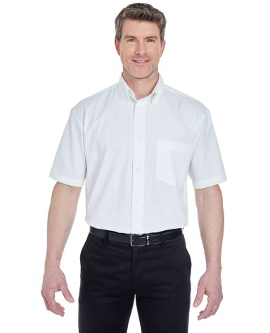 8977 UltraClub® Adult Whisper Twill Blend Short-Sleeve Woven Shirt