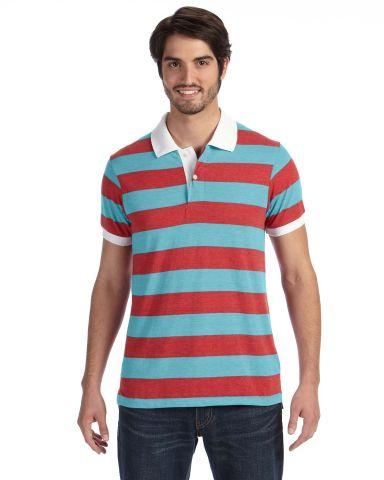AA1905 alternative Men's Ugly Stripe Short-sleeve Polo Eco Tr Turquoise