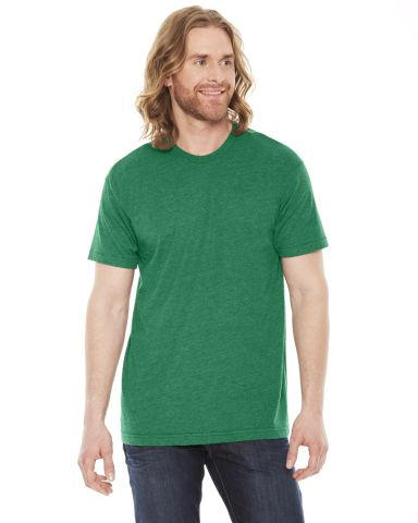 BB401 American Apparel Unisex Poly-Cotton Short Sleeve Crew Neck  Heather Vintage Green (Discont
