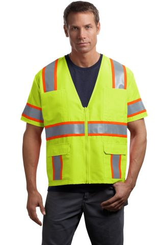 CornerStone ANSI Class 3 Dual Color Safety Vest CSV406 Safety Yellow/Safety Orange