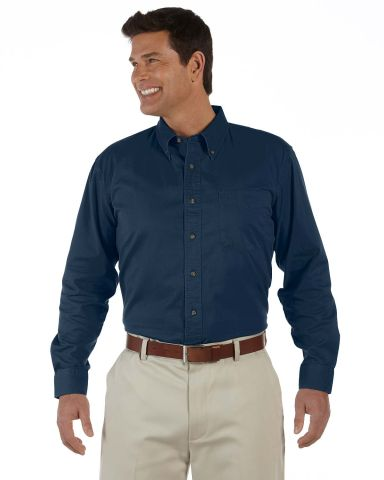 D500 Devon & Jones Men's Long-Sleeve Titan Twill Navy